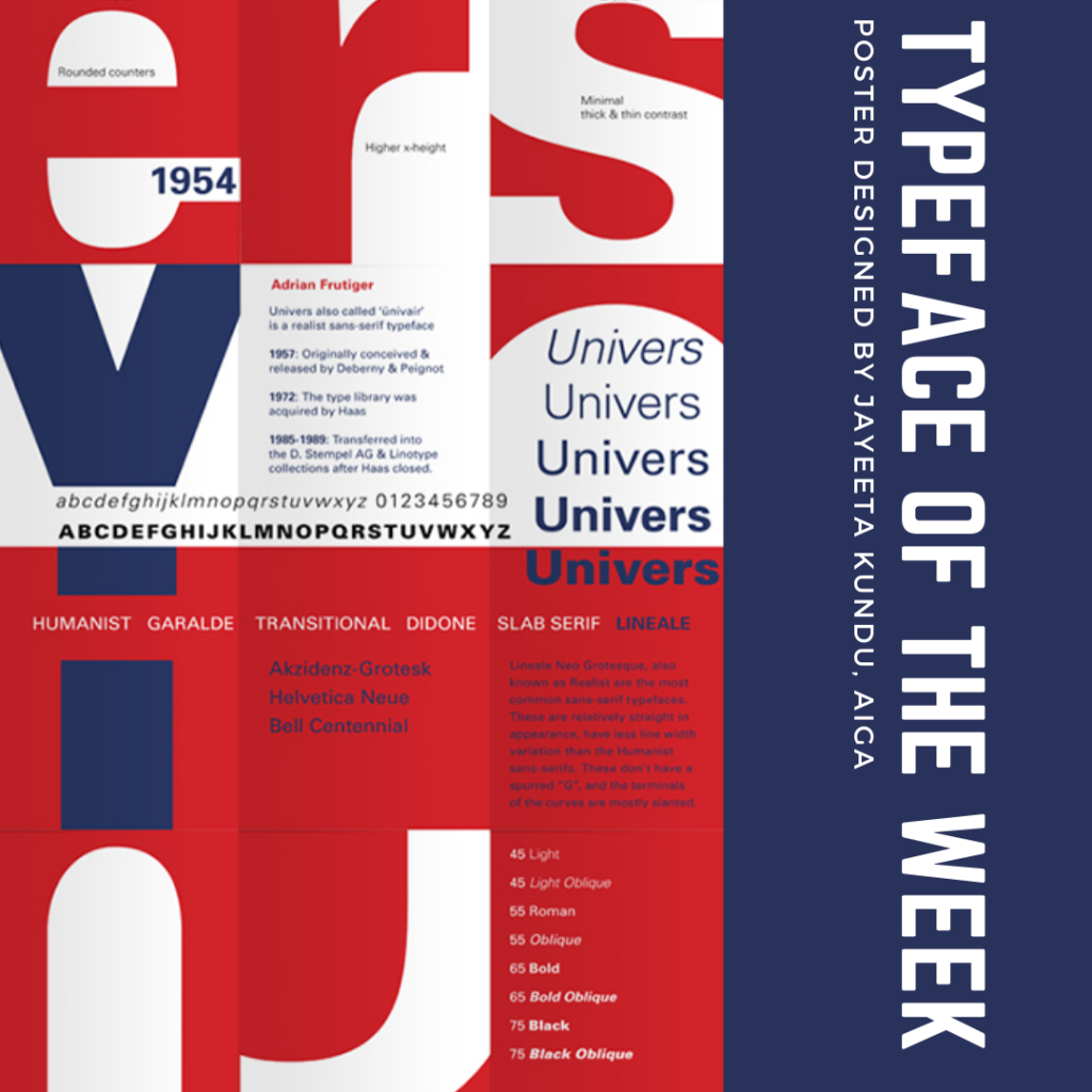 Typeface of the week - Univers poster